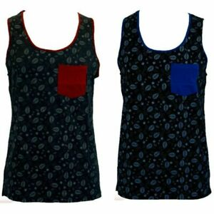 Men's Contrast Printed SINGLET 100% COTTON Tank Muscle Top Basic Casual