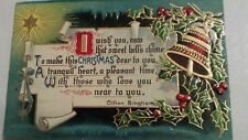 VINTAGE POST CARD CHRISTMAS BELL GERMANY