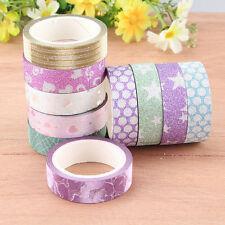 10 Glitter Decorative Self Adhesive Masking Washi Tape Sticky Paper Sticker Sets