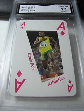 USAIN BOLT TRACK & FIELD OLYMPICS 2007 LOCOG PLAYING CARD # ACE OF D GRADED 10