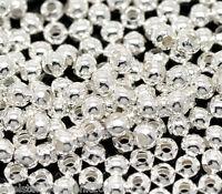 1000 Versilbert Rund Glatt Spacer Perlen Beads 0.3cm