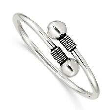 """.925 Sterling Silver Polished Slip-On Wrap Kids Bead Bangle 5"""" Childrens Jewelry"""