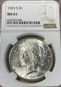 1923-S NGC MS61 Peace Silver Dollar