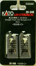 "NIB N Kato #20-048 Unitrack 2"" 50.5mm Straight Track w/Bumper 'C' 2 Pcs"