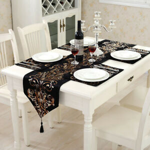Black Tassel Velvet Damask Table Runner Mats Dining Banquet Party Home Decor