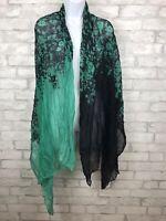 "Women's Fashion Scarf Wrap Black Green Floral Shawl 76X42"""