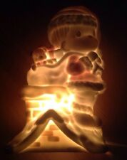 1995 Precious Moments Christmas Lamp Santa Girl on Roof with a Toy Sack RARE!