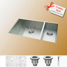 "Combo Deal ! 33"" Under mount Stainless Steel Kitchen Sink 70 / 30 Split KUS3318B"