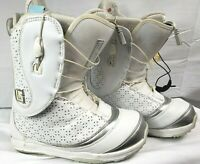 Burton Supreme Women's Snowboard Boots 8 White Silver Heat Ready Insoles