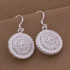 Earrings Drop Dangle Round Filigree Pearl Textured Ladies 925 Sterling Silver