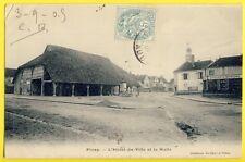 cpa Rare PINEY (Aube) L'HÔTEL de VILLE HALLE Epicerie Mercerie Dock Comptoirs