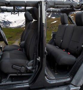 Jeep Wranglar JK 4 Door 2007-2010 Wetsuit Neoprene Seat Cover Full Set- Black