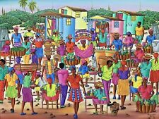 "Haitian Painting by the Master Denis Rousseau 20"" X 16"" Canvas Haiti Art"