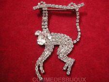 """Broche """"Singe Chimpanzé"""" Pavé cristal Blanc Cheeta Tarzan - Bijoux pur Bestiaire"""
