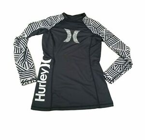 Hurley UPF 50 Long Sleeve Black & White Rashguard Top Boy's Size M