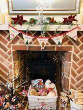 PERSONALISED FABRIC HANDMADE NAME CHRISTMAS XMAS FLAG BUNTING DECORATION