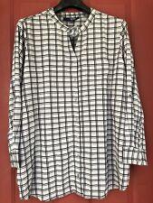 NEW Denim 24/7 Plaid Checkered Black Gray Button Blouse Shirt Top Size 26W