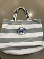 Pottery Barn Grey And White Striped Monogram H Beach Travel Tote Bag