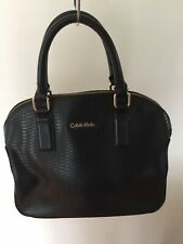 Calvin Klein CK Double Handle Women Tote Hand Bag Black Zip Closure /w Strap