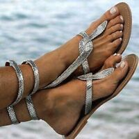Ladies Women's Summer Pinch Flat Sandals Ankle Straps Snake Large Size Shoes