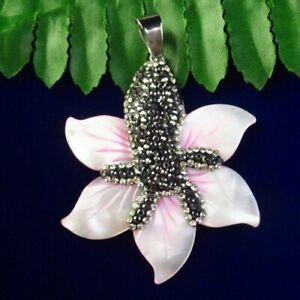 52x43x5mm Wrapped Rhinestone Pink Shell Flower Pendant Bead D96659