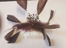 ladies brown hair fascinator slide with feathers wedding races special occasions