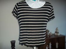 womans black&cream striped top from foxtrot size medium in v good condition
