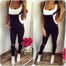 Women Ripped Light Black Washed Jumpsuit Dungarees Faded Denim Jeans Overall
