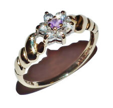 9ct Yellow Gold, Amethyst & Cubic Zirconia Flower Cluster Ring - UK Size: N