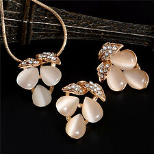 Fashion Party Wedding Jewelry Set  Gold Plated Opal Crystal Necklace Earrings