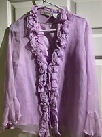 New York City Design Women's Large Silk Lilac Purple Layered Blouse Top