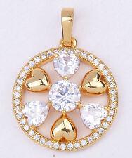 18K Yellow Gold Filled - 1.1'' Hollow Heart Topaz Zircon Circle Flower Pendant