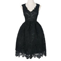 Women's Casual Slim Elegant Lace Floral Evening Wedding Formal Party Dress
