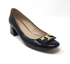 Tory Burch GiGi Women's Sz 9.5 Black Patent Leather Block Heel Slip On Shoes
