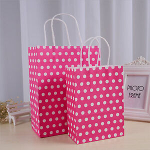 Variety of Colors for 12pcs Polka Dot Paper Kraft Christmas Gift Shopping Bags