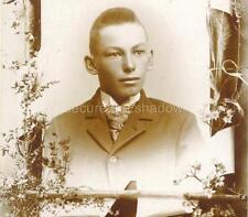CABINET CARD PHOTO: Post Mortem MEMORIAL Handsome ADOLESCENT BOY w BUZZ CUT Hair