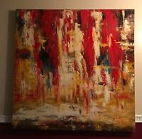 "Hand Painted Original Abstract on Canvas - 50"" x 50""  Signed"
