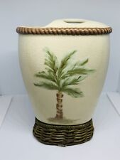Spring Maid Islans Palm Tree Bamboo Ceramic Toothbrush/Toothpaste holder