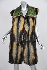 OSCAR DE LA RENTA Striped LONG FUR VEST Sleeveless-Coat+GREEN FLORAL SILK M/L