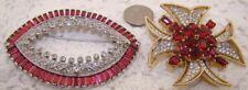Crown Trifari Rhinestone Maltese Cross Red Stone Brooch + S. Dali Mazer Lips Pin
