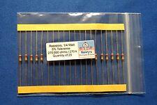 Resistors, carbon film, 1/4 watt-5%-axial leaded-270,000 Ohm (270K) - QTY of 20
