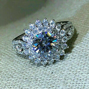 Gorgeous 925 Silver Rings for Women White Sapphire Wedding Jewelry Gift Sz 8