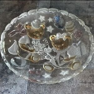 Mikasa Tinted Glass Party Bears Platter Frosted Serving Dish
