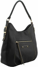 Bag Shoulder Slouch Handbag Ladies Leather Large Tote Black Hobo Designer Tassel