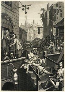 William Hogarth Gin Lane Vintage 1751 Reproduction Art Print A4