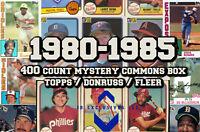 1980 - 1985 BASEBALL CARD TOPPS - FLEER - DONRUSS 400 Count MYSTERY COMMONS BOX