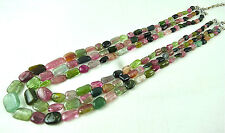 481 CTS NATURAL MULTI TOURMALINE TUMBLE BEADS NECKLACE WITH SILVER HOOK