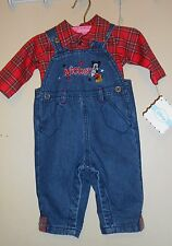Disney Mickey Mouse Infant Boys Denim Overalls + Long Sleeve Plaid Shirt 0-3M