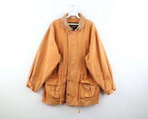 Vtg 90s Streetwear Mens Medium Distressed Stonewash Parka Jacket Harvest Gold