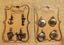 Bead Landing Charmalong Brass Nautical Charms, Silver Family Charms, 2 sets